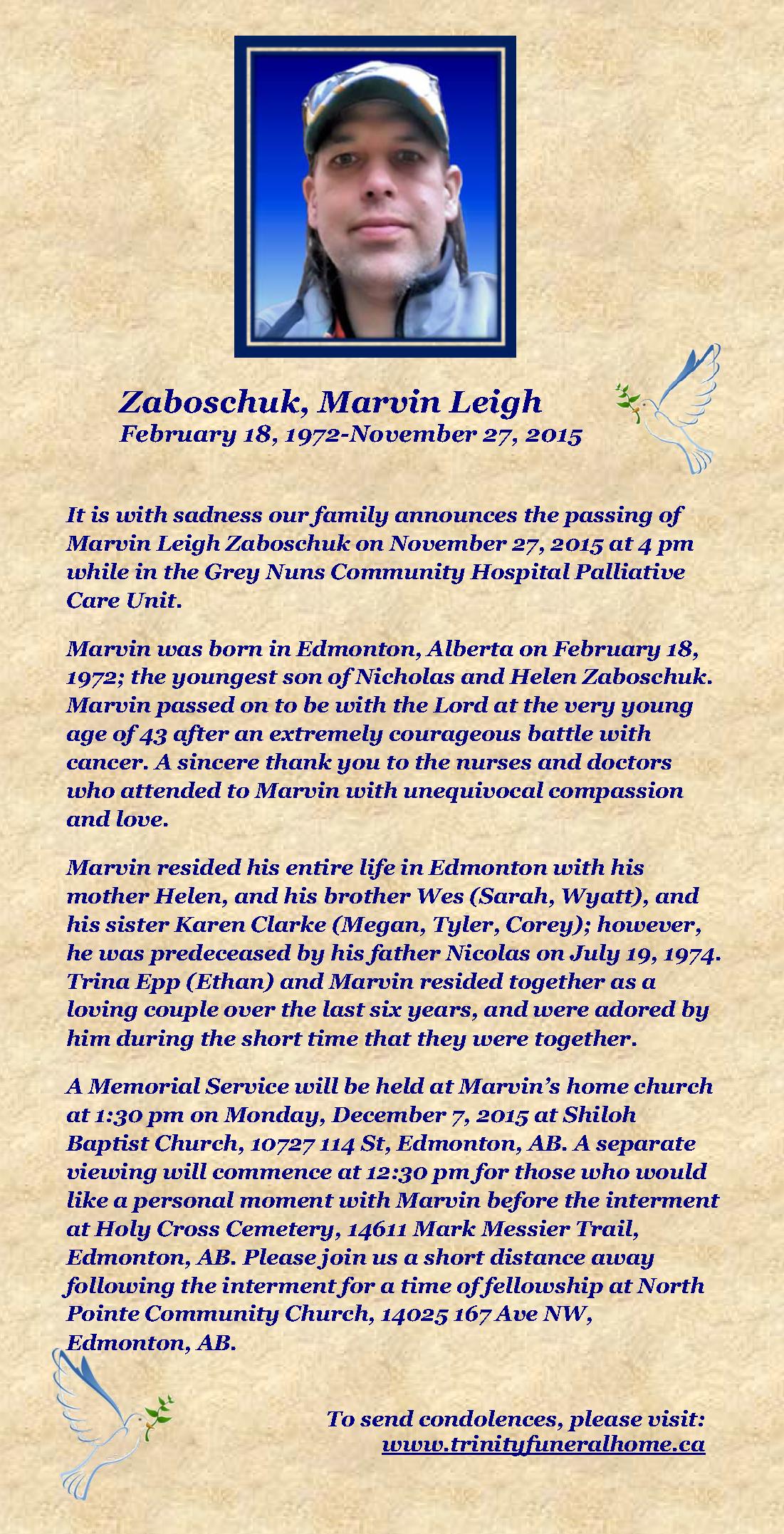 Marvin Zaboschuk Obituary